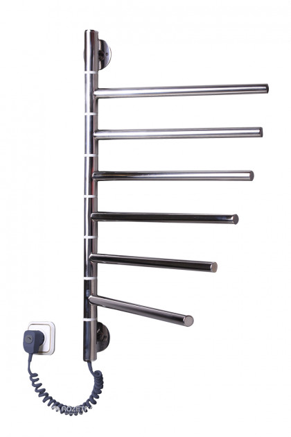 Цена Электрический полотенцесушитель Вертикаль-6 поворотная хромированный нержавейка с терморегулятором (640х400х40)