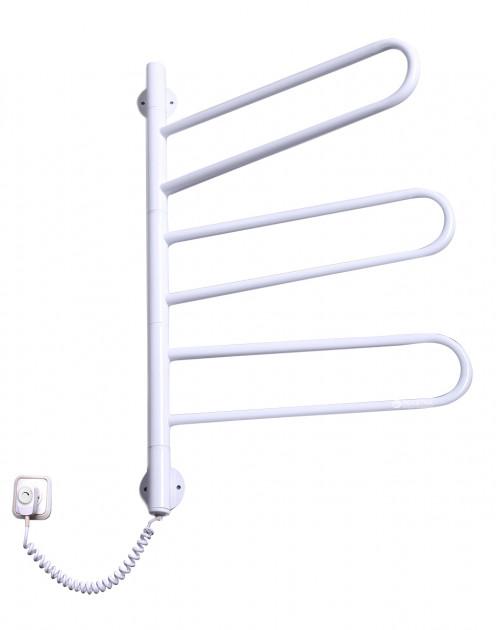Электро полотенцесушитель Флюгер-3 поворотный белого цвета с регуляцией температуры нагрева (735х470х40) фото видео изображение