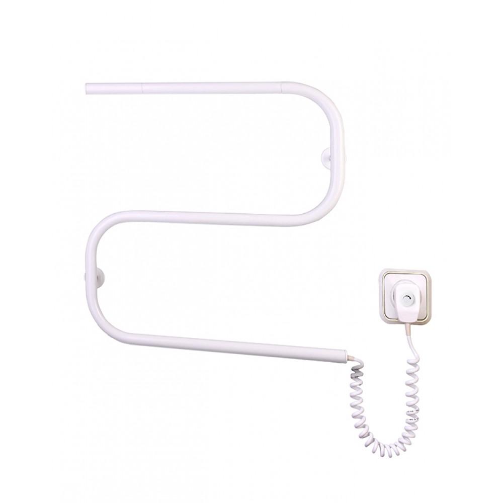 Электрический полотенцесушитель ЗМЕЙКА-S Белая с регулятором температуры экономичный (530х500х50)