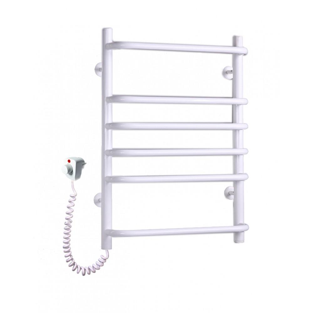 Электрический полотенцесушитель Стандарт-6 белого цвета с торцевым регулятором температуры (675х480х130)