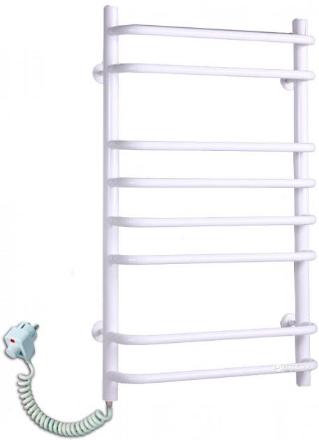 Электрический полотенцесушитель Стандарт 8 белый с торцевым терморегулятором (820х480х130) фото видео изображение