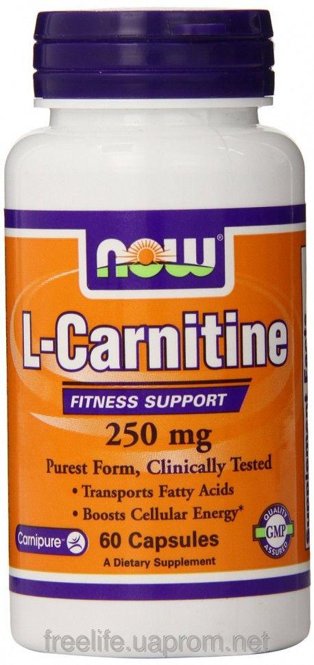 Жиросжигатель  L-карнитин, L-Carnitine 250mg (60 капсул) фото видео изображение