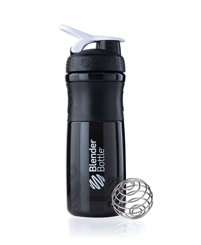 Шейкер спортивный BlenderBottle SportMixer 820ml (ORIGINAL) Black-White фото видео изображение