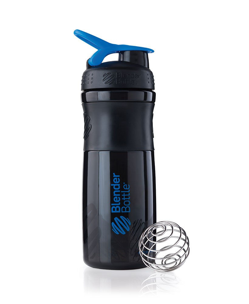 Шейкер спортивный BlenderBottle SportMixer 820ml (ORIGINAL) Black-Blue фото видео изображение
