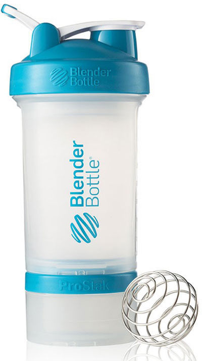 Шейкер спортивный BlenderBottle ProStak 650ml (ORIGINAL) Trans-Aqua фото видео изображение