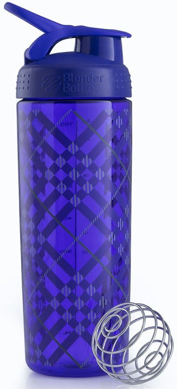 Шейкер спортивный BlenderBottle Signature Sleek 820ml (ORIGINAL) Purple Tratan Plaid фото видео изображение