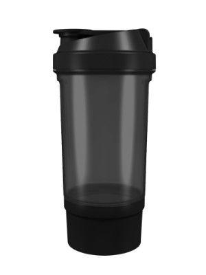 фото Шейкер 360 с контейнером для порошка (500 мл) Черный видео отзывы