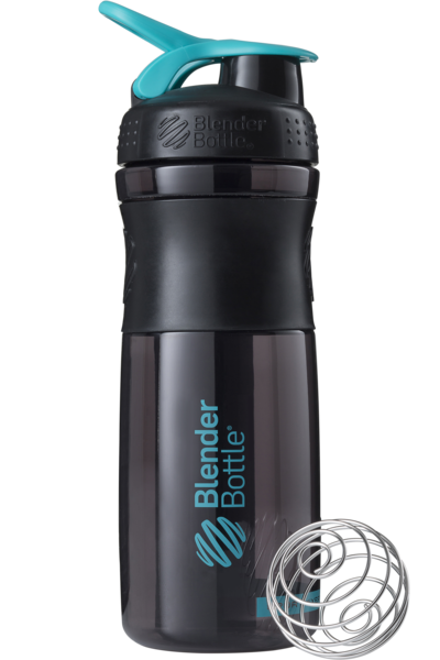 Шейкер спортивный BlenderBottle SportMixer 820ml (ORIGINAL) Black-Teal фото видео изображение