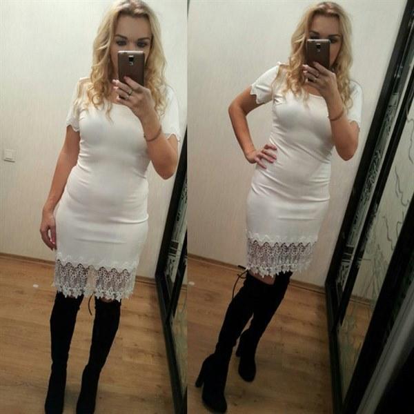фото Белое платье с нежным кружевом видео отзывы
