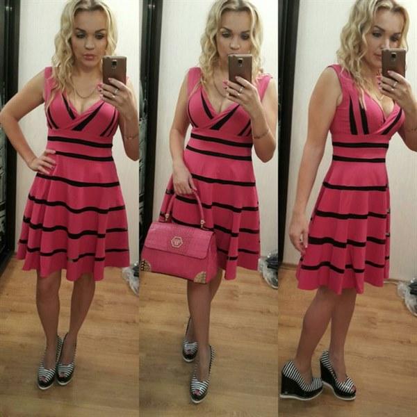 фото Платье розовое с красивым декольте видео отзывы