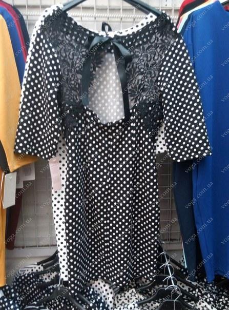фото Платье - туника черная в белый горох с кружевной спинкой видео отзывы