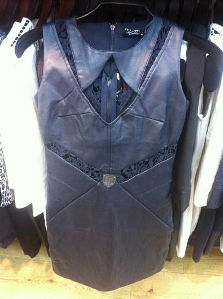 Купить Кожаное черное платье с ажурными вставками цена