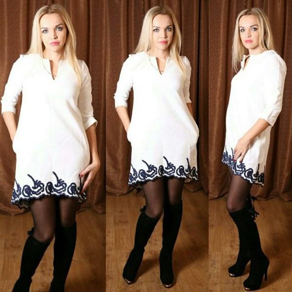 3c18d8c8876 Короткое белое платье - трапеция с модной вышивкой купить Украина ...