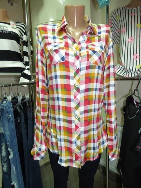 фото Весенняя рубашка женская в клетку с яркой разцветкой видео отзывы