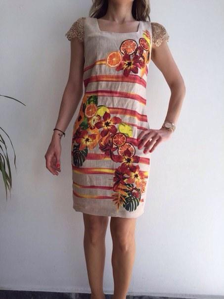 фото Бежевое летнее платье с коротким рукавом видео отзывы