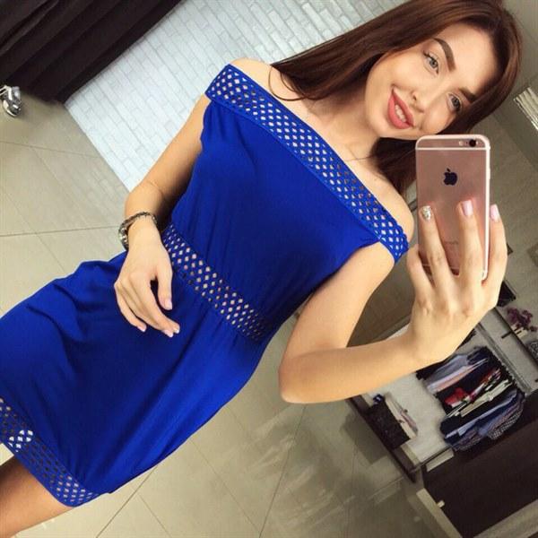 фото Синее платье с ажурными вставками видео отзывы