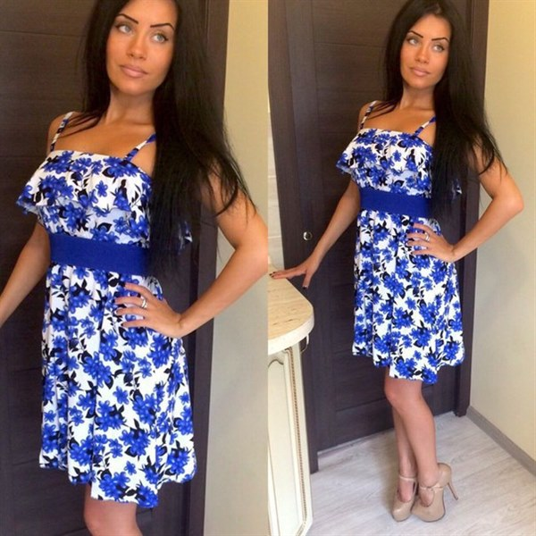 Купить Короткое платье с поясом цена