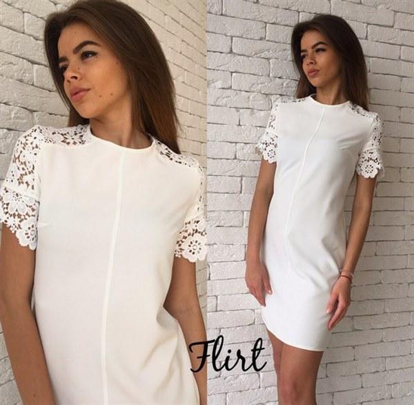 Купить Прямокройное платье с коротким рукавом из кружева цена