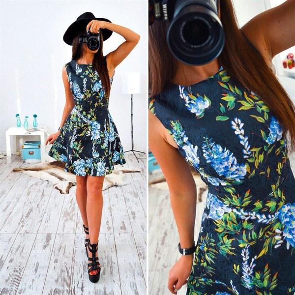 Купить Стильное платье синего цвета с жаккардовым узором цена