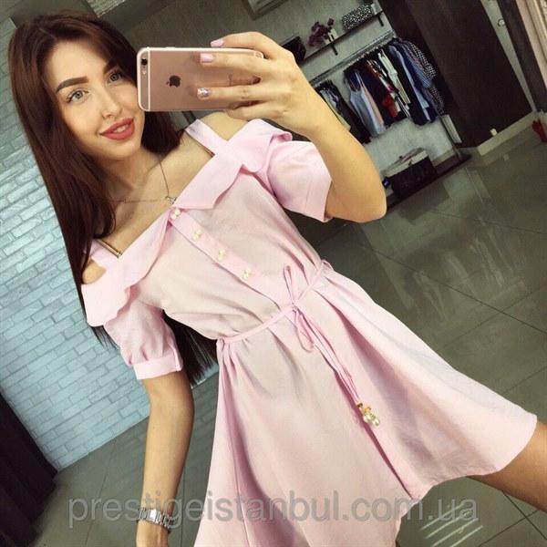 Купить Легкое летнее платье с открытыми плечами цена