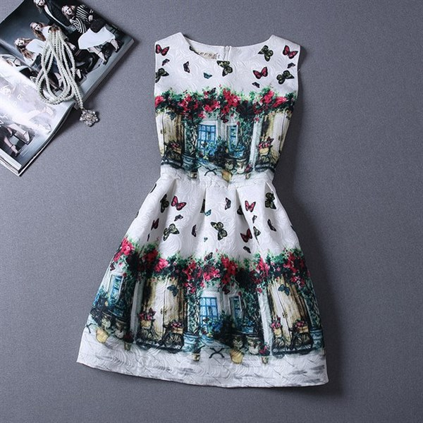 Купить Стильное жаккардовое платье без рукавов цена