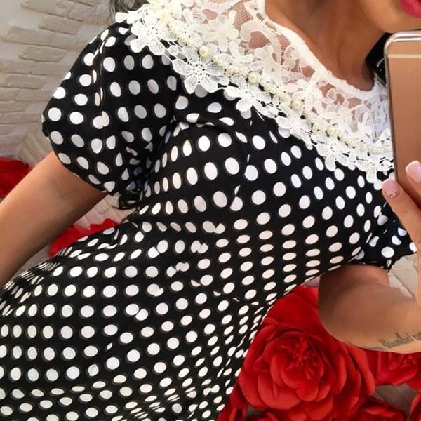 Купить Черное платье в белый горошек с рукавом- фонариком цена