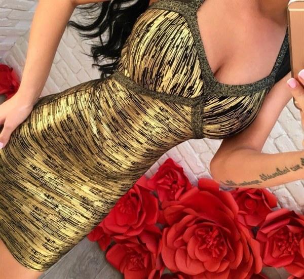 фото Бандажное платье золотистого цвета отзывы