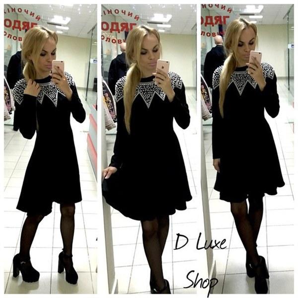 Цена Черное платье с жемчужинами