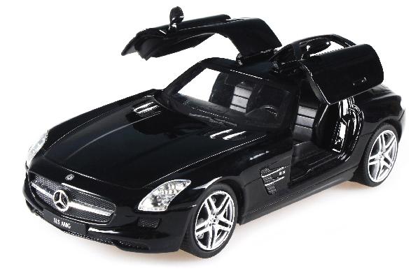 Машинка р/у 1:24 Meizhi лиценз. Mercedes-Benz SLS AMG металлическая (черный) фото видео изображение