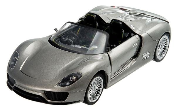 Машинка р/у 1:24 Meizhi лиценз. Porsche 918 металлическая (серый) фото видео изображение