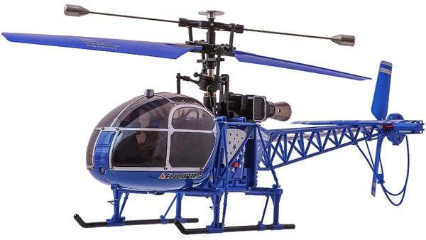 Вертолёт 4-к большой р/у 2.4GHz WL Toys V915 Lama (синий) фото видео изображение