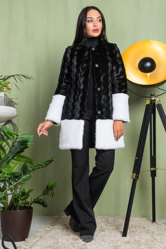 фото Молодежная крутая Шуба черная с белым низом из эко меха 2-012 черный верх видео отзывы