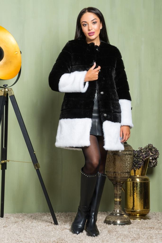 фото Красивая Шуба из эко меха 2-014 черный верх белый низом недорогая видео отзывы
