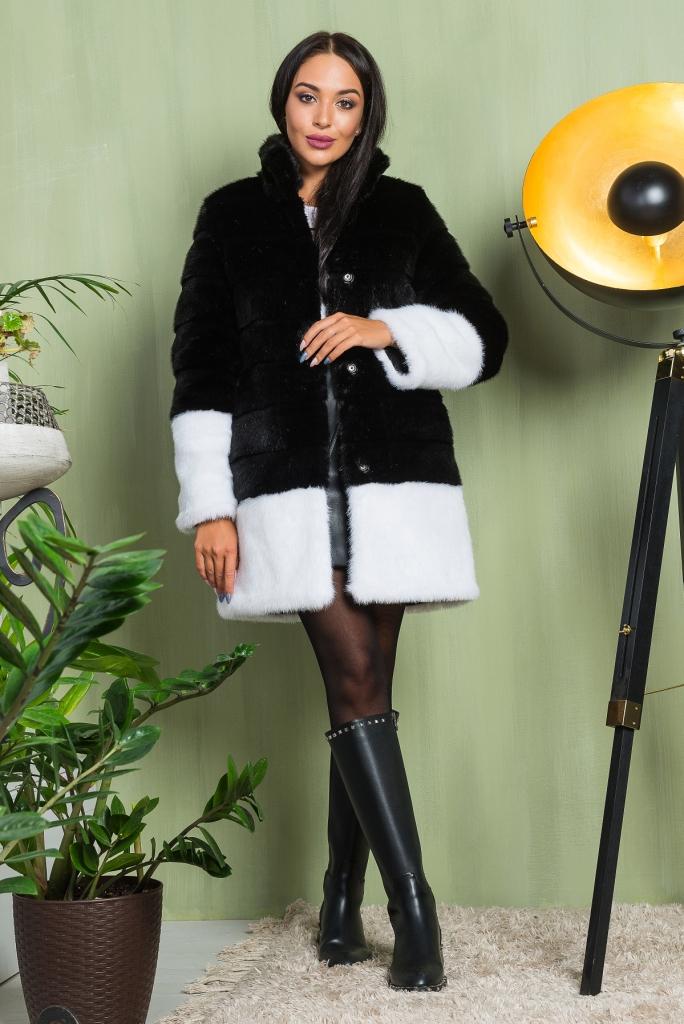 Модная Шуба из эко меха 2-024 черная фото видео изображение