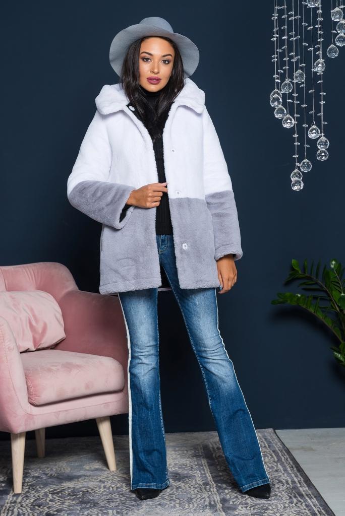 Купить Шуба для молодой девушки из эко меха 2-031 бело-серая цена