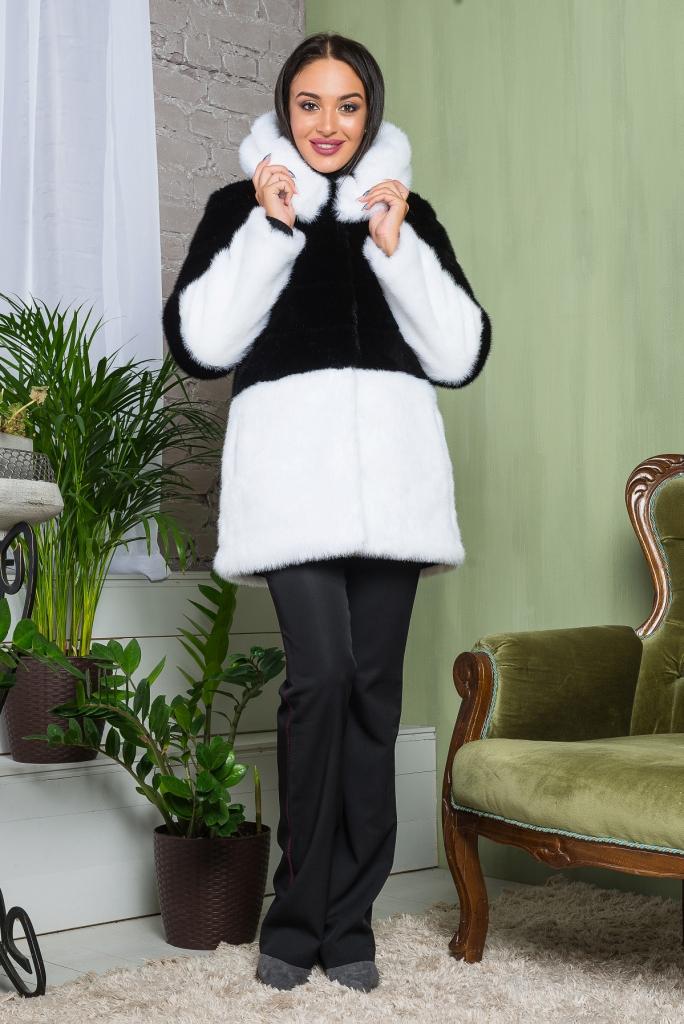 Купить Божественная Шуба очень красивая элегантная из эко меха 2-034 черно-белая цена