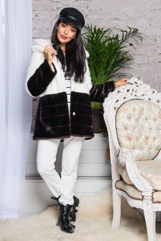 Купить Элегантная молодежная стильная Шуба из эко меха 2-034 бело-шоколадная цена