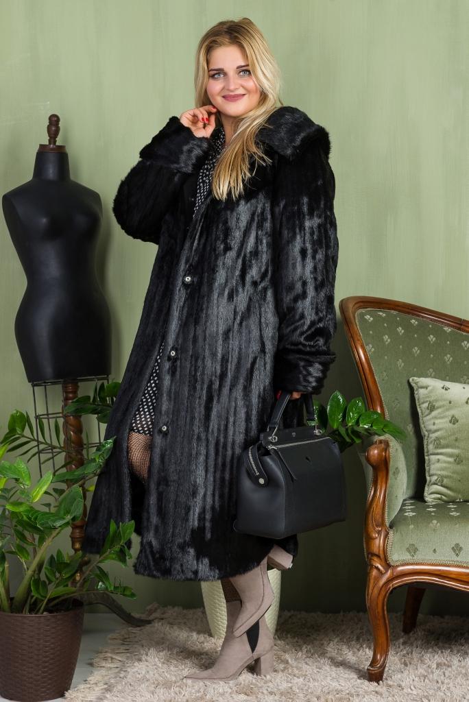 Купить Длинная Шуба бизнес леди из эко меха 2-050 черная цена