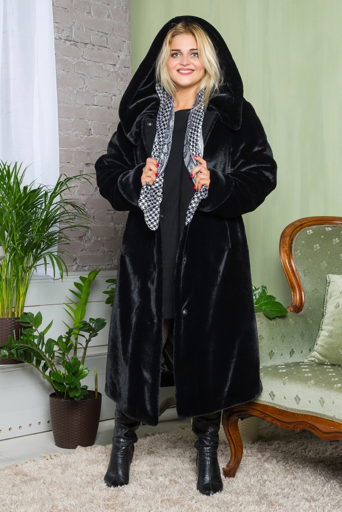 Купить Зимняя очень теплая легкая Шуба в пол из эко меха 2-051 черная цена