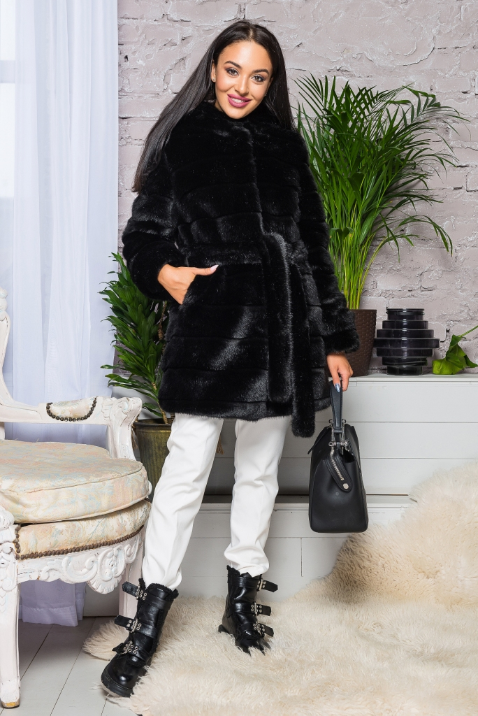 Купить Шуба искусственная норка черная качественная приятная на ощуп из эко меха 2-084 цена